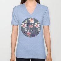 Butterflies And Hibiscus… Unisex V-Neck