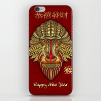 Chinese New Year Monkey Head Mask Design Greeting Card iPhone & iPod Skin