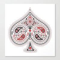 83 Drops - Spades (Red & Black) Canvas Print