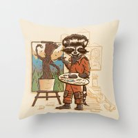 Happy Little Groots Throw Pillow