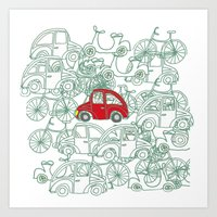 Little Red Car Art Print