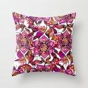 Bright watercolor floral mandala henna hand drawn pattern Throw Pillow