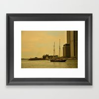 Vintage NY Harbor Tall Ship Framed Art Print