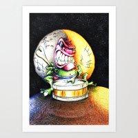 Green Drummer Crazy Mask Art Print