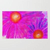 Bright Pink Sketch Flowe… Rug