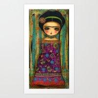 Frida In A Purple And Bl… Art Print