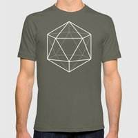 Icosahedron Pattern Black Mens Fitted Tee Lieutenant SMALL