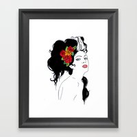 Girl With Roses Framed Art Print