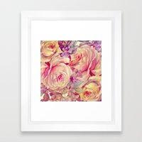 soft vintage roses Framed Art Print