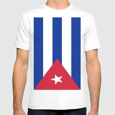Flag of Cuba White Mens Fitted Tee SMALL
