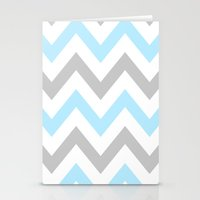 BLUE & GRAY CHEVRON Stationery Cards