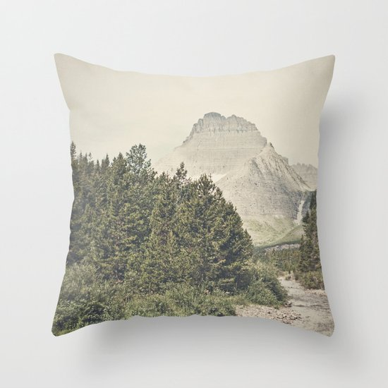 Retro Mountain River Throw Pillow
