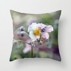 Pretty Pink Anemone Throw Pillow
