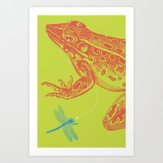Frog vs. Dragonfly Art Print