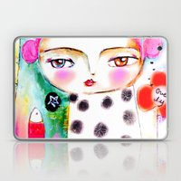 Dream a bit...every day! pink hair girl fish flowers Laptop & iPad Skin