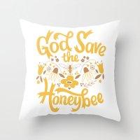 God Save the Honeybee Throw Pillow