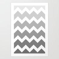 Chevron - Multi Grey Art Print