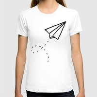 Paper Plane Womens Fitted Tee White SMALL
