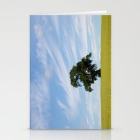 Oak tree landscape Stationery Cards
