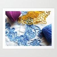 Romanian Point Lace Blue… Art Print