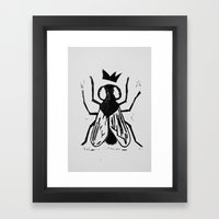 Fly Linocut Framed Art Print