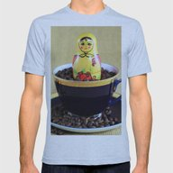 Russian Coffee Mens Fitted Tee Athletic Blue SMALL