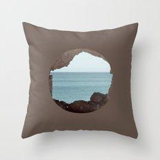 window to sea Throw Pillow