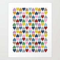 Diamond Hearts Repeat Art Print