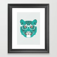Bookish Big Cat Framed Art Print