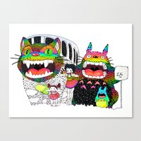 Totoro fan art (cat bus) by Luna Portnoi Canvas Print
