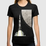 Apollo Rocket Womens Fitted Tee Tri-Black SMALL