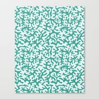 Turquoise Coral Pattern Canvas Print