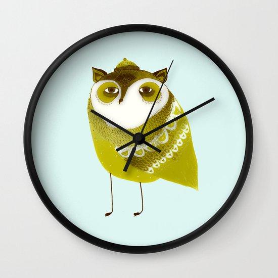 Golden Owl illustration  Wall Clock