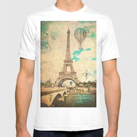 Vintage Eiffel Tower Paris Mens Fitted Tee White SMALL