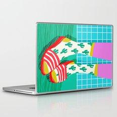 Sliders - memphis throwback retro neon 1980s 80s style pop art shoe fashion grid pattern socks Laptop & iPad Skin