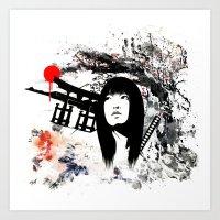 Japanese Geisha Warrior Art Print