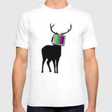 Deer TV White Mens Fitted Tee SMALL