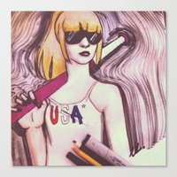 Canvas Print featuring USA woman by Elizabeth