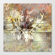 346 36 Rustic Bohemian Stag Skull Canvas Print