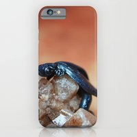 iPhone & iPod Case featuring Metallic Blue and Black Dragon on Quartz Crystal by Kimberly Sulzer-Girlwithafrogtattoo