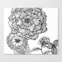 flower line drawing Canvas Print