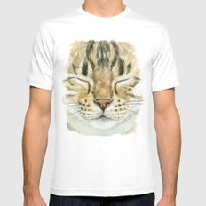 Sleeping Tabby Cat  830 SMALL White Mens Fitted Tee