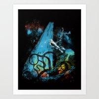 diving danger Art Print