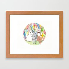 rabbit, cat, owl Framed Art Print