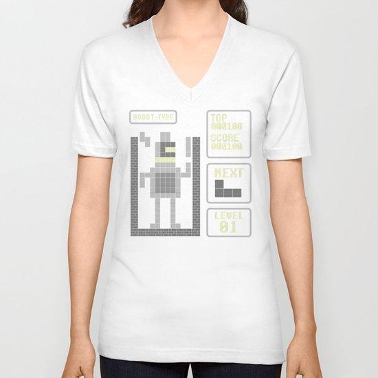 TETRIS: Robot Type V-neck T-shirt