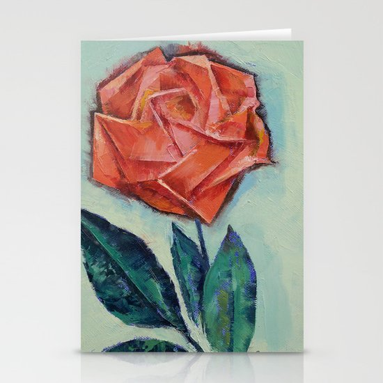 Origami Rose Stationery Card