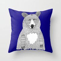 Blue Bear Throw Pillow