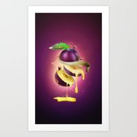 Sliced Plum Art Print