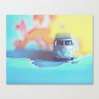 Silver VW Bus Canvas Print