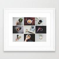 Morning stories - COFFEE set Framed Art Print
